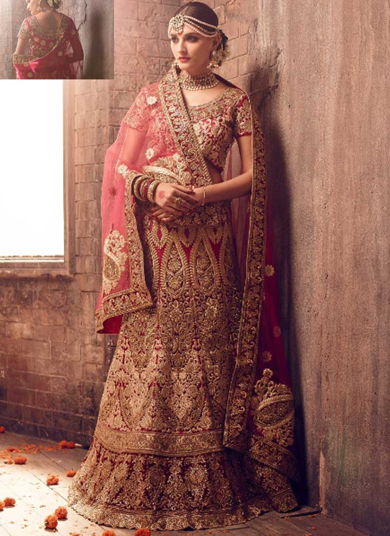 a43558069b Maroon Red Silk Heavy Embroidery work and Stone Work Wedding Lehenga Choli