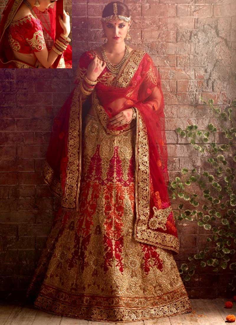 0ec3572771 Red Beige Silk Heavy Embroidery work and Stone Work Wedding Bridal Lehenga  Choli