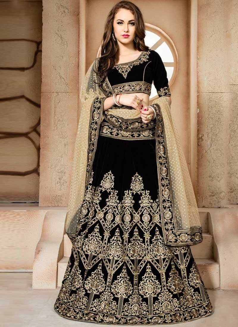 5b4f128bff Beige Black Embroidery Work Net Velvet Designer Wedding Lehenga Choli