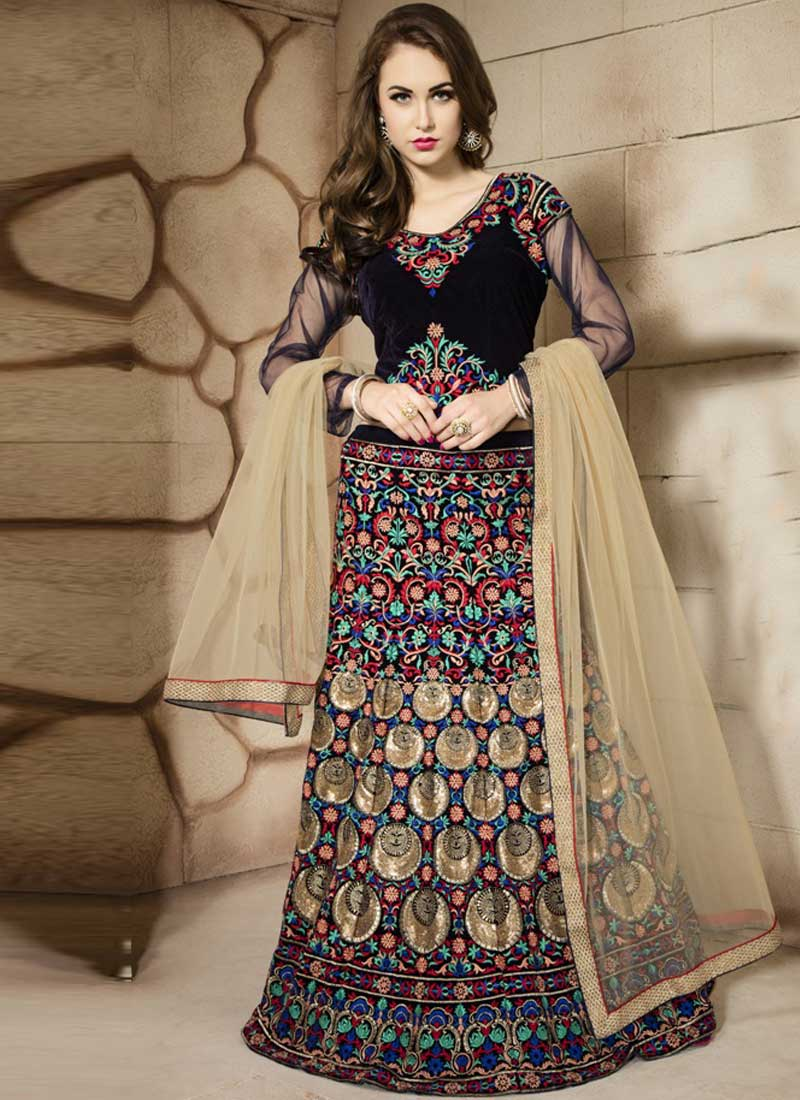 cbc855f237 Navy Blue Beige Embroidery Resham Work Velvet Net Designer Wedding Lehenga  Choli