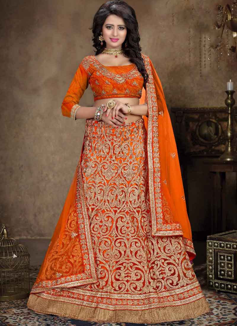 Orange Embroidery Zari Work Net Wedding Designer Lehenga Choli