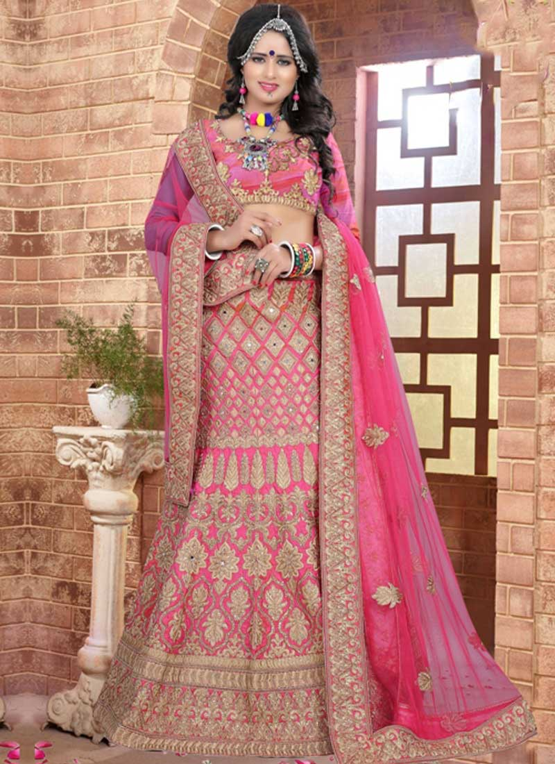 Pink Embroidery Mirror Work Silk Net Designer Fancy Wedding Lehenga ...