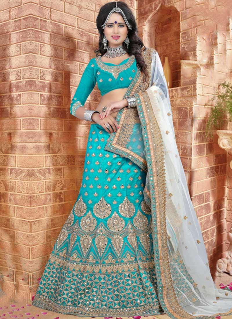 308bd8bb80 Sky Blue Off White Embroidery Work Silk Net Designer Fancy Wedding Lehenga  Choli