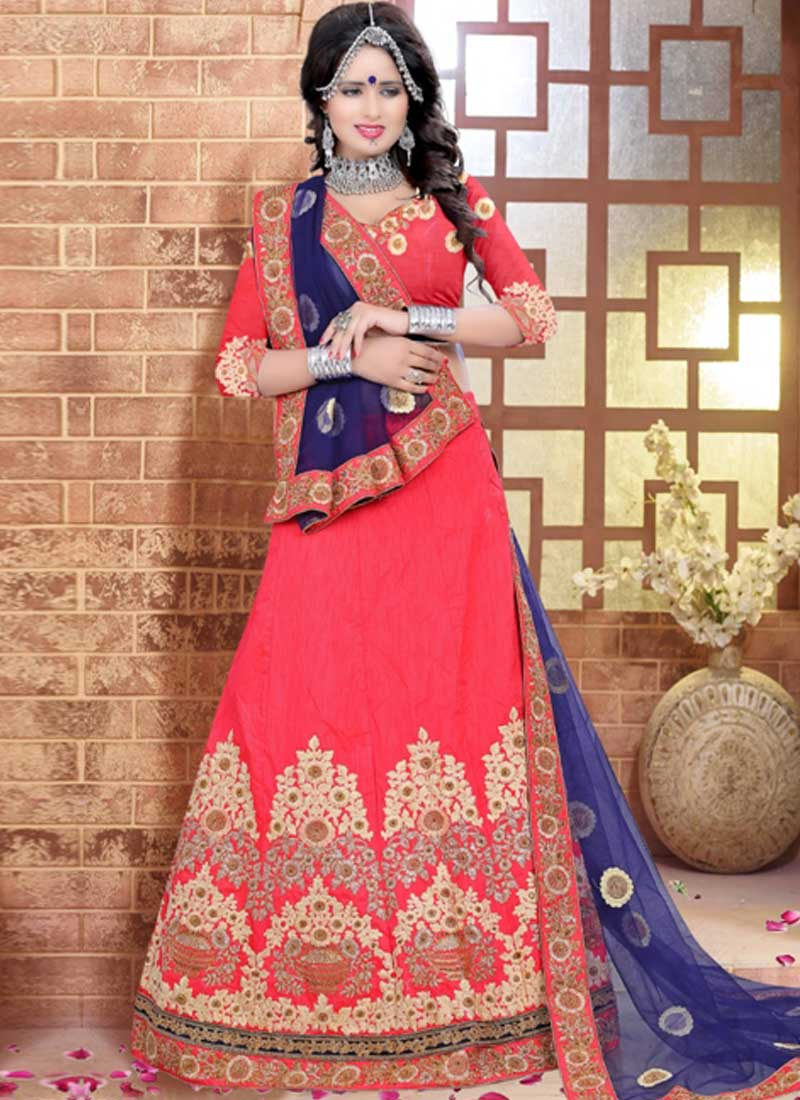 be3101c072 Tomato Red Blue Embroidery Work Silk Net Designer Wedding Lehenga Choli