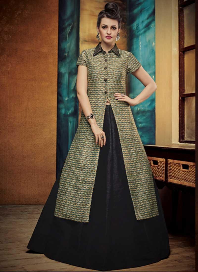 9410514373 Black Border Work Silk Designer Print Fancy Lehenga Choli. Buy ...