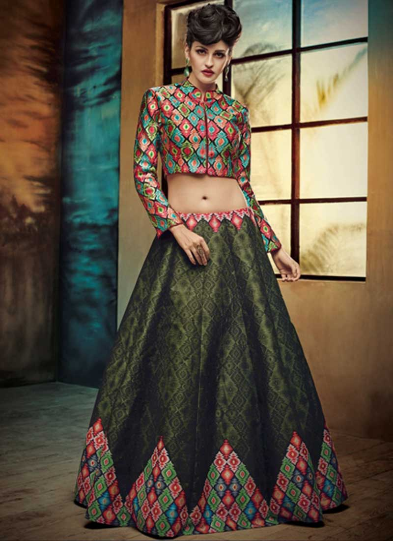 4a7e903ee7 Olive Green Embroidery Work Silk Designer Print Fancy Lehenga Choli ...