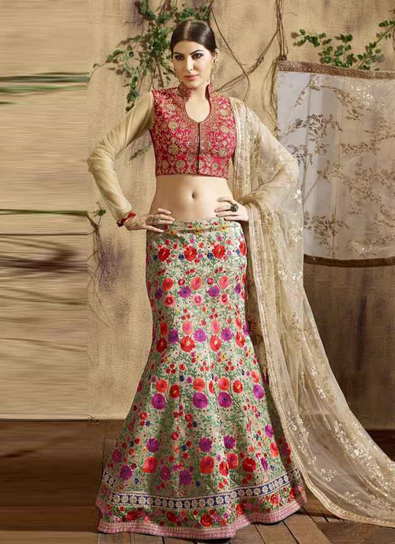 a49f4e83cf Bedazzling Beige Parsi Work Silk Zari Embroidered Bridal Wedding Ghagra