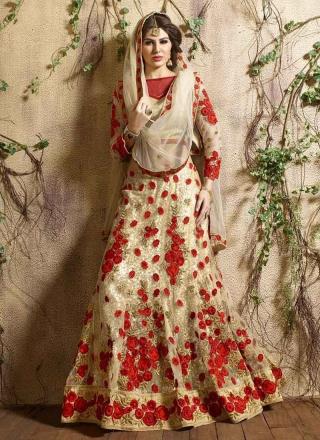 a9d3f8be8c Glossy Cream And Red Brocade Thread Work Wedding Designer A-Line Lehenga  Choli