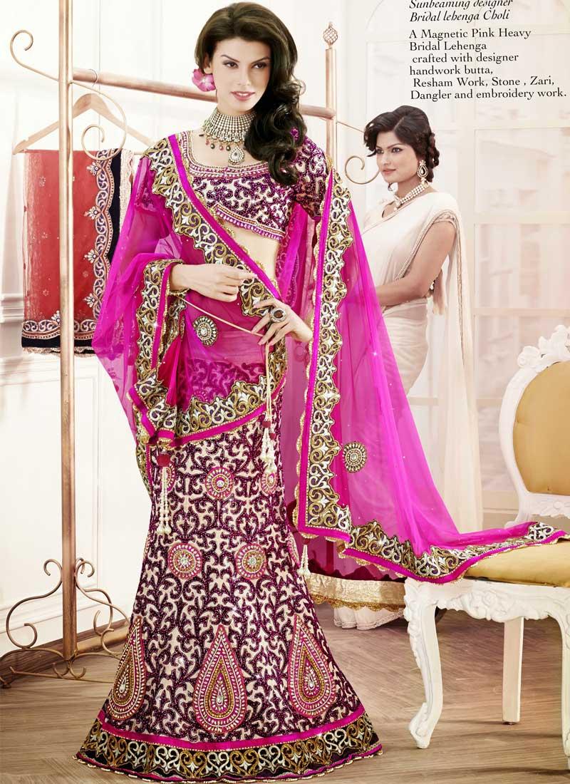 3ec92e9367 Beige With Hot Pink Heavy Embroidery Work Designer Wedding Lehenga Choli