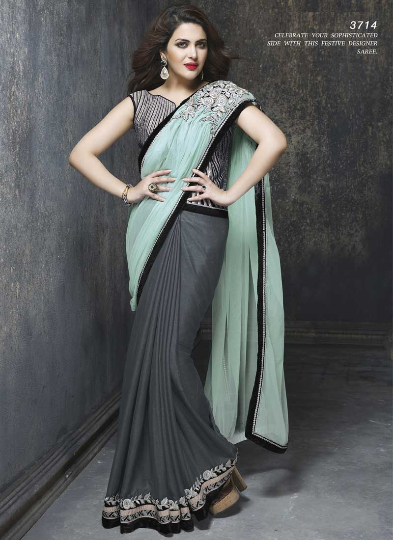 59cc77b274 Elite Firoji Black And Grey Heavy Embroidery Work Saree. Online Buy ...