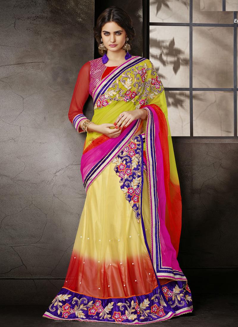 0180b9ef37 Muticolored Embroidery Work Latest Designer Wedding Wear Lehenga Saree