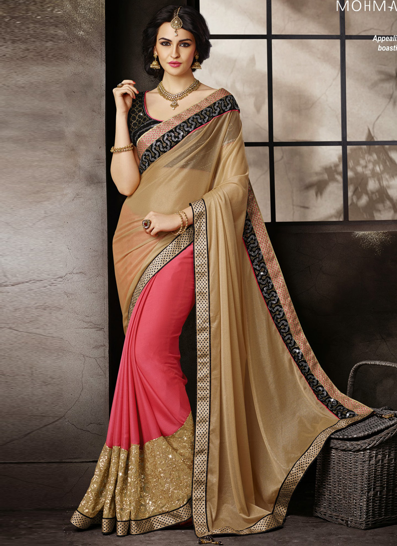light brown with hot pink half n half designer wedding saree