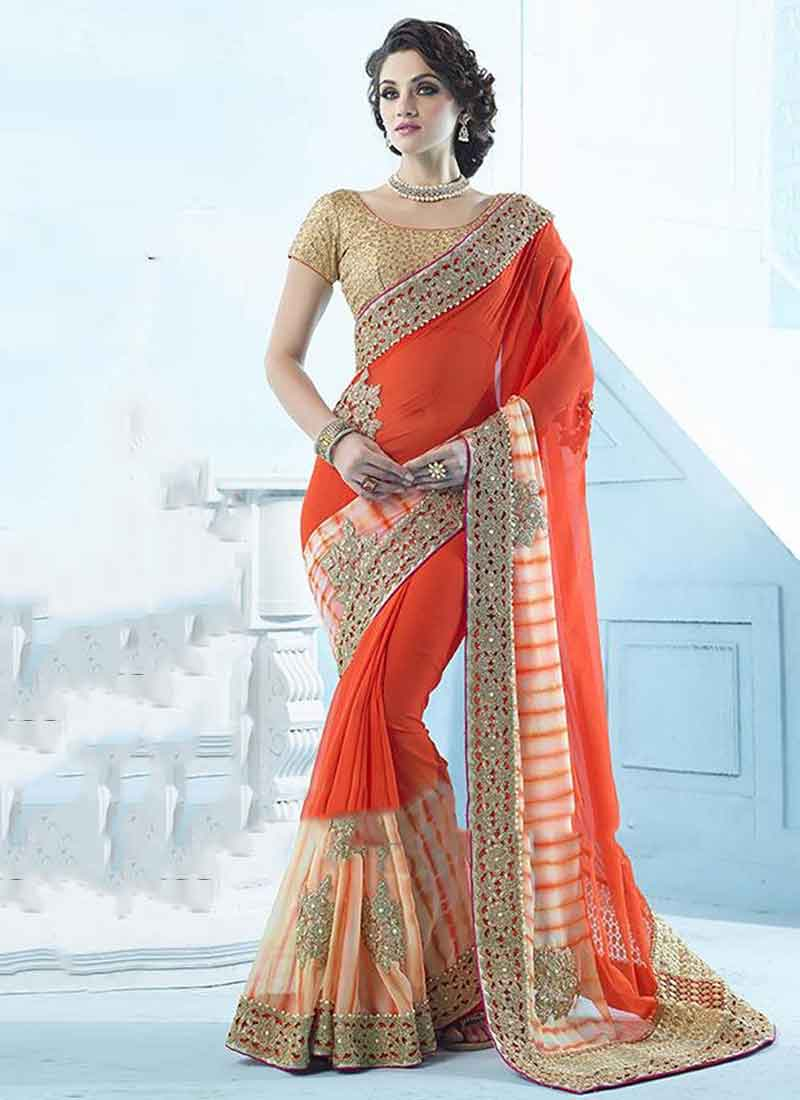 a3b84b0df8 Orange Embroidery Patch Boota Stone Work Shibori Print Georgette Designer  Saree