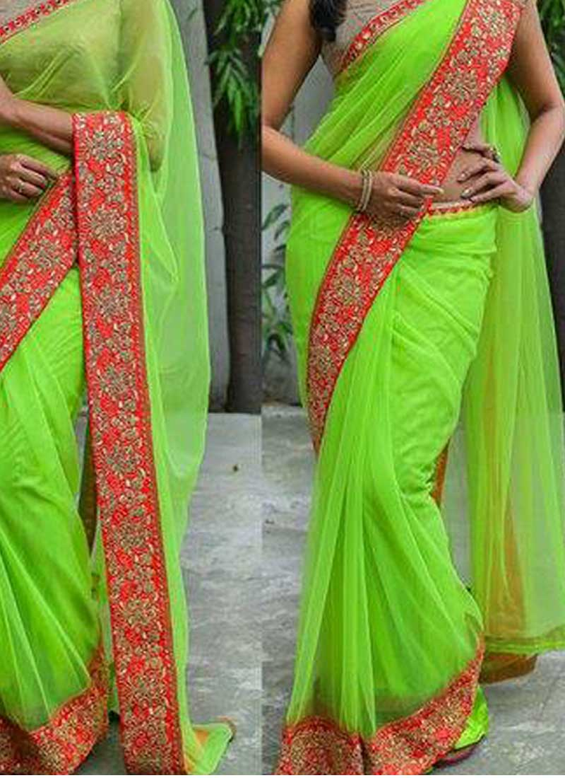d0749e8c9d10e Parrot Green Embroidery Work Designer Party Wear Fancy Sarees. Buy ...