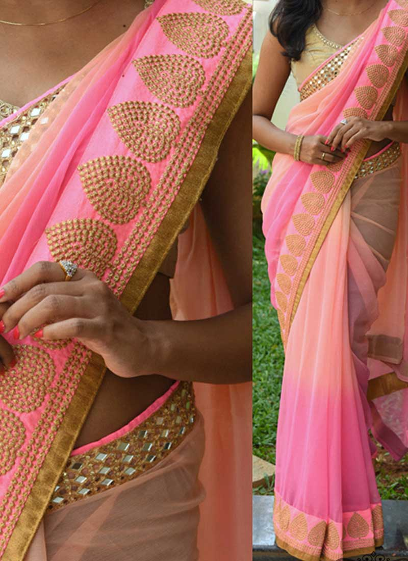 e8dd9166f0b2d8 Pink Embroidery Mirror Work Georgette Designer Party Wear Sarees ...