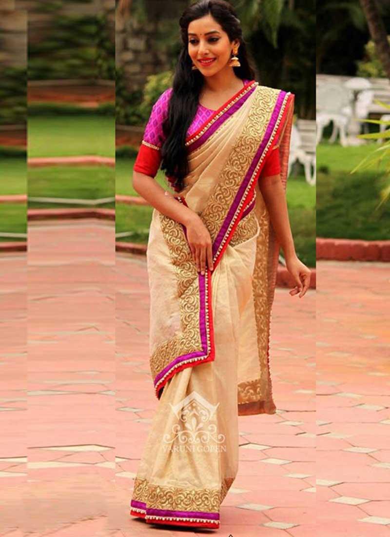 eef7b91e864 Beige Embroidery Work Cotton Silk Designer Party Wear Sarees. Buy ...