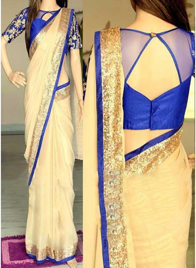 Beige Blue Sequin Work Border 60 Gram Georgette Raw Silk Party Wear Sarees