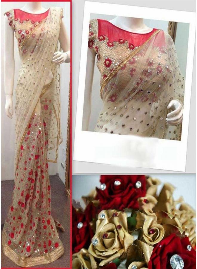 Beige Mirror Work Sequin Work Net Raw Silk Wedding Sarees