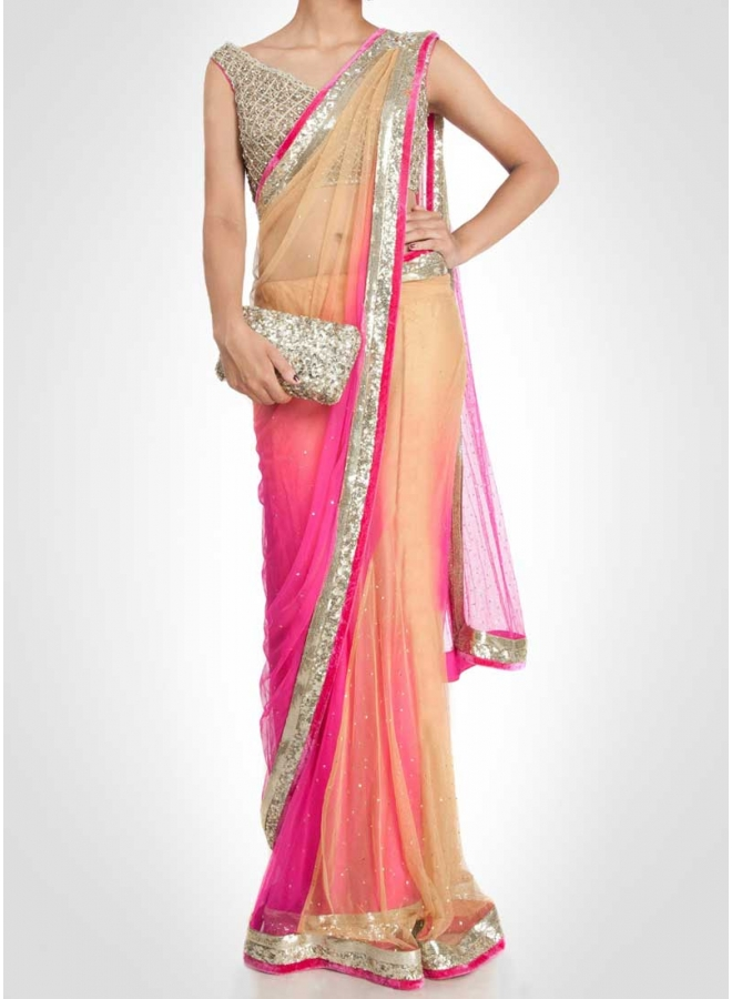 Beige Pink Diamond Work Sequin Work Net Banarasi Designer Sarees