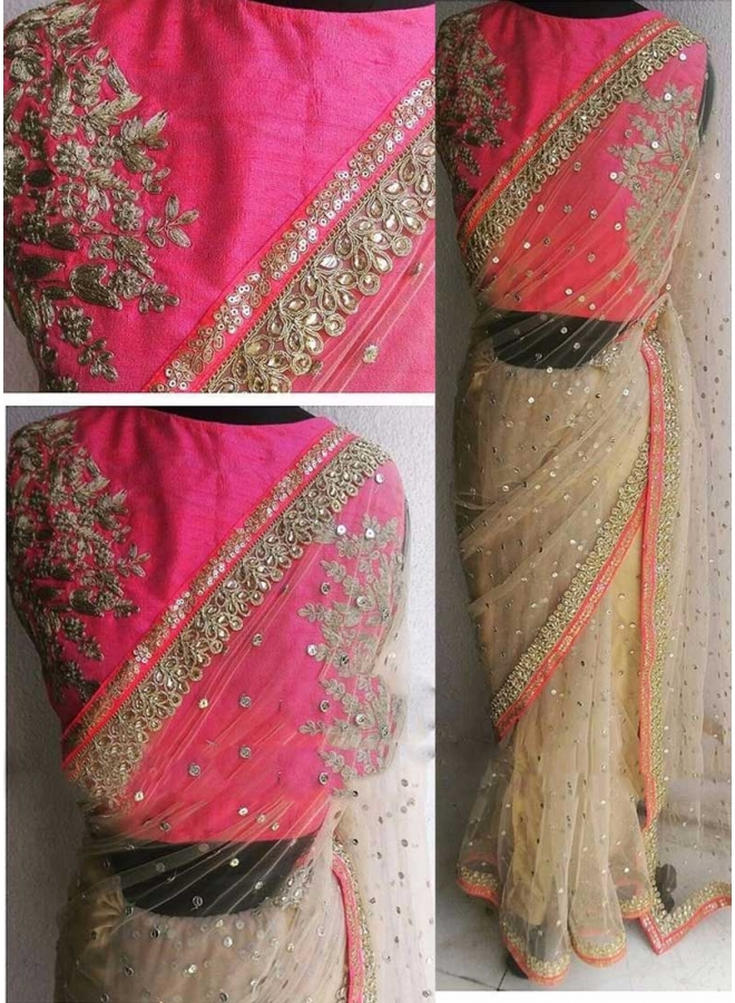 Beige Pink Sequin Work Diamond Work Net Raw Silk Wedding sarees