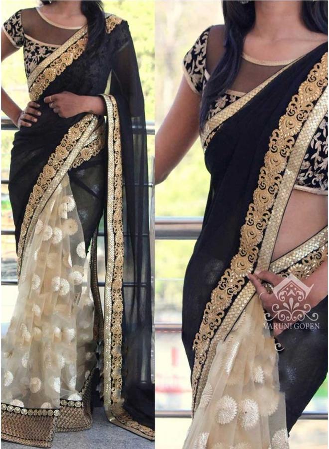 Black Beige Embroidery Work Georgette Net Raw Silk Wedding Sarees