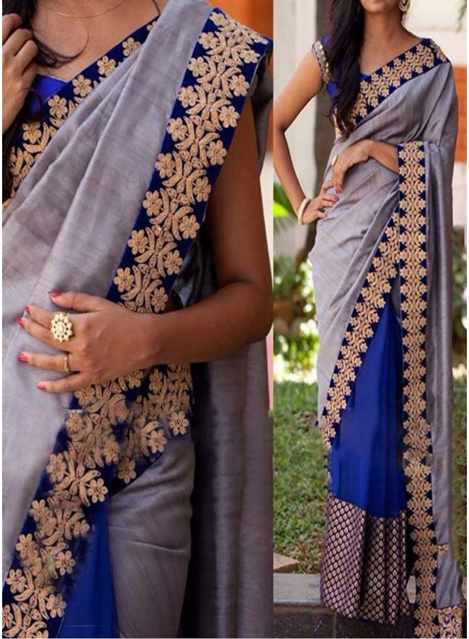 Blue Grey Embroidery Sequins Work Stone Work Silk Georgette Party Wear Sarees