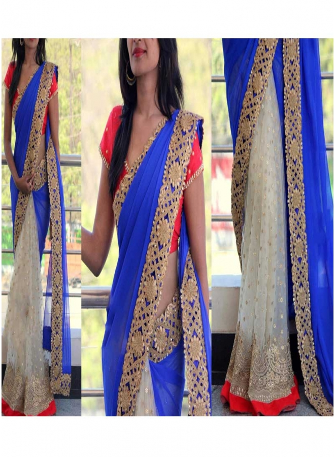 Blue Off White Sequin Booti Work Cut Work Lace Georgette Net Wedding Sarees