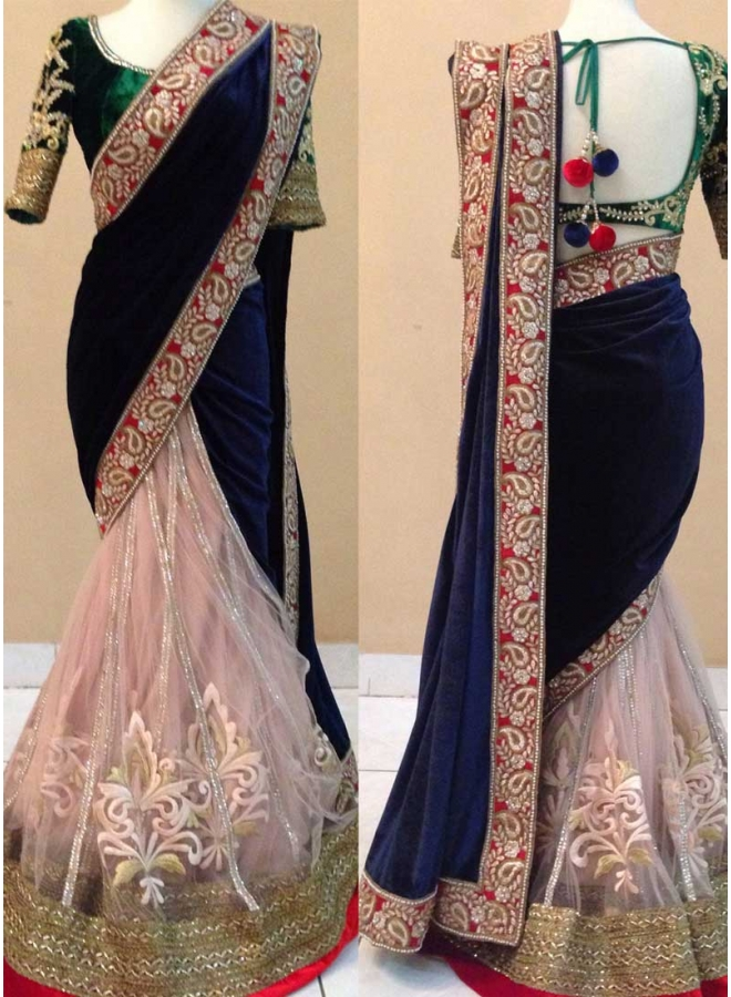 Blue Peach Green Embroidery Work Velvet Net Banglori Silk Wedding Sarees