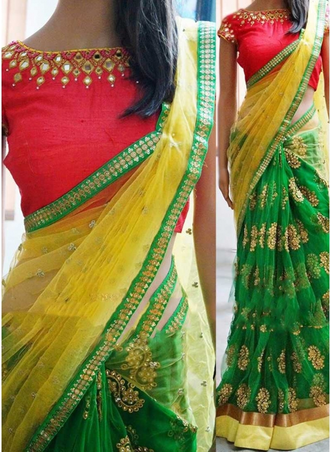 Green And Yellow Goldan Lace Border Mirror Work Half N Half Net Designer Sarees