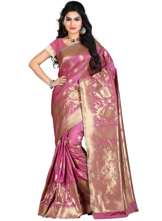 Hot Pink Kanjivarm Banarasi Silk Hand Wiving Designer Saree