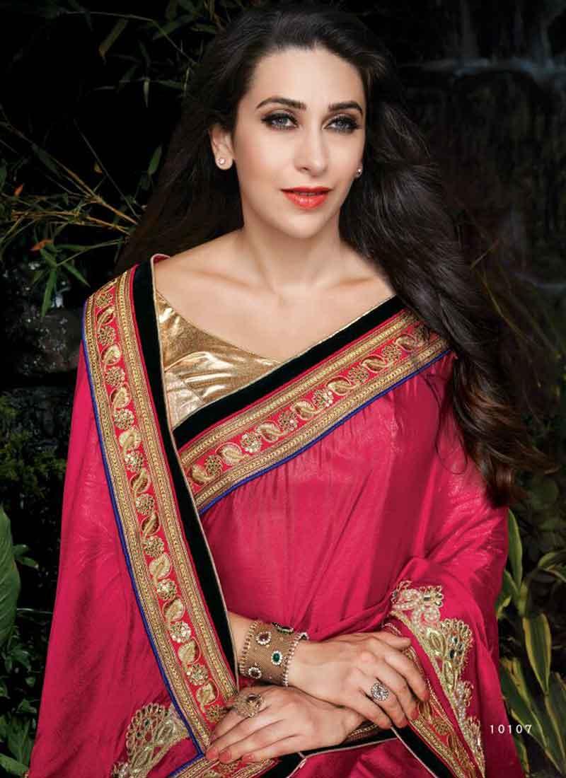 e6ee0b87d3e Karishma Kapoor Rani Pink Embroidery Work Chinnon Georgette Designer Sarees