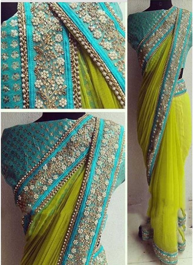 Parrot Sky Blue Embroidery Lace Border Nazmin Georgette Banarasi Designer Sarees