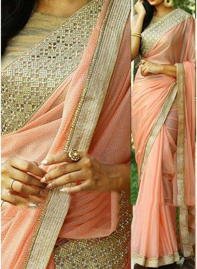 Peach Embroidery Stone Work Lace Border Lycra Silk Georgette Designer Sarees
