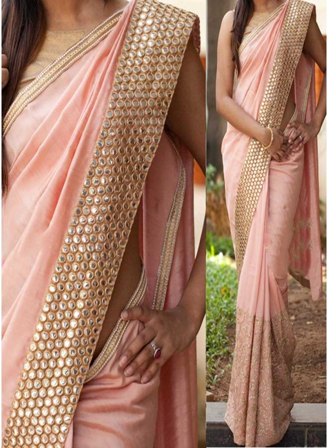 Peach Mirror Work Thread Work Georgette Banarasi Party Wear Half Sarees