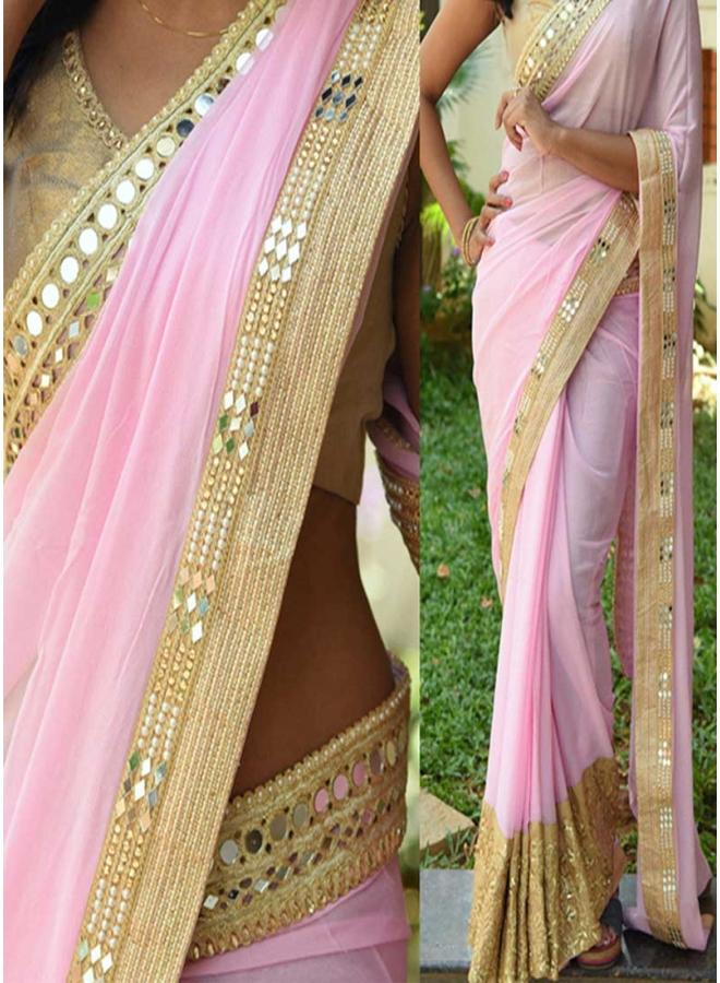 Pink Thread Work Hand Work 60 Gram Georgette Banarasi Designer Half Sarees