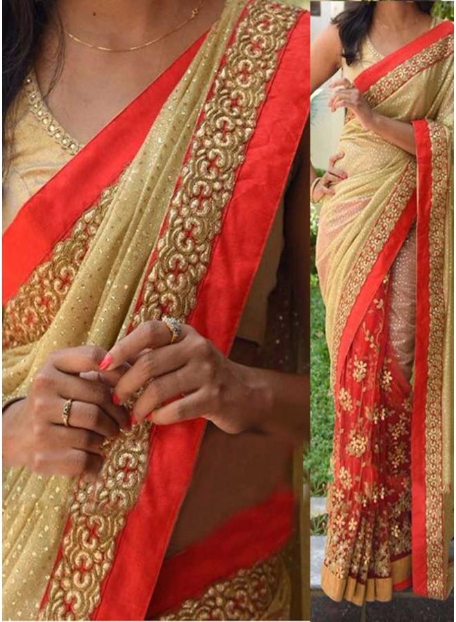 Red Beige Embroidery Thread Work Lycra Silk Net Wedding Half N Half Sarees