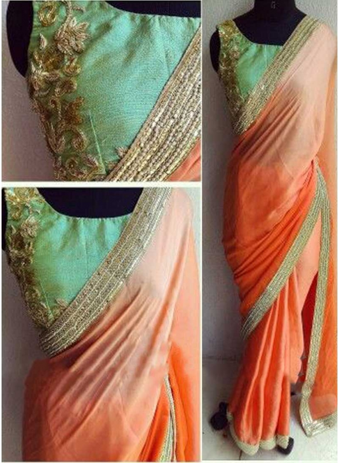 Shaded Orange Green Embroidery Raw Silk Blouse Lycra Silk Georgette Sarees