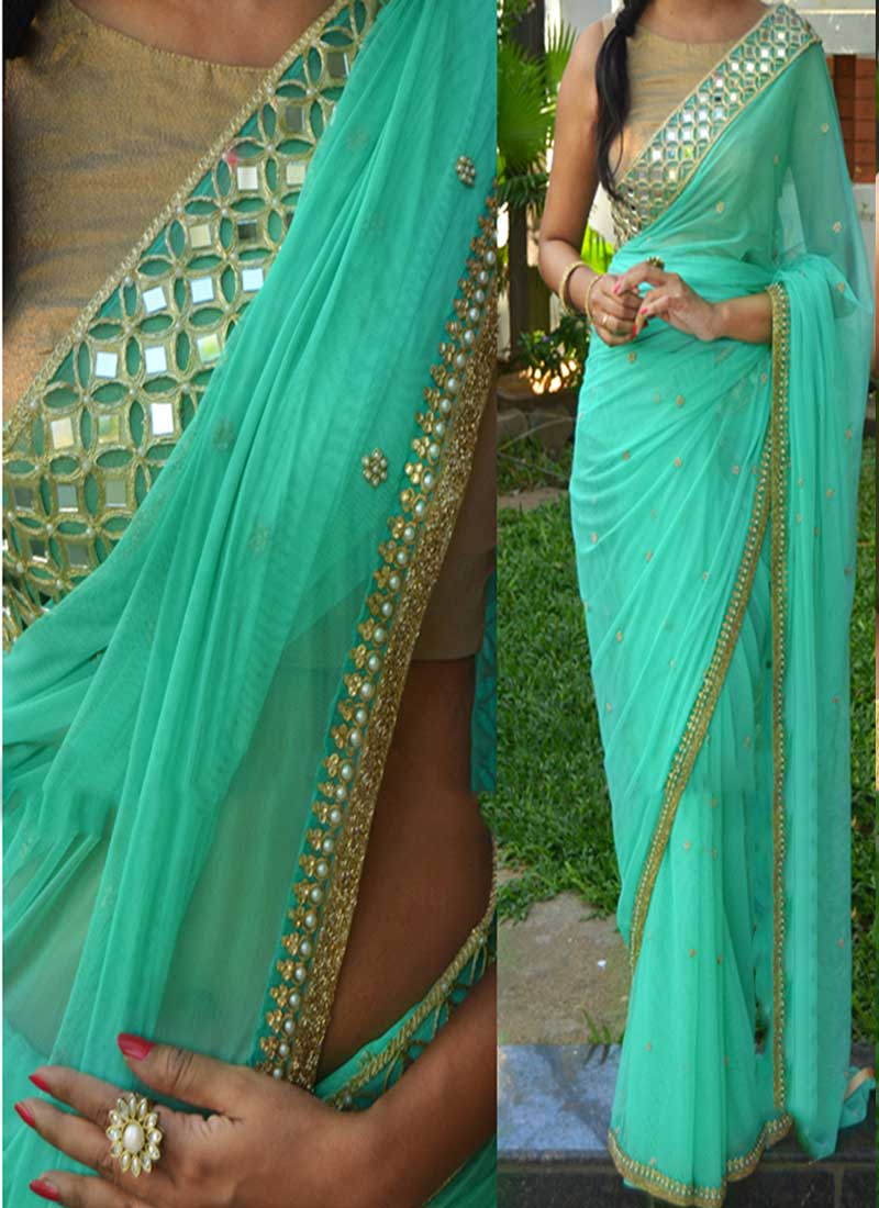 09bcdfded1bbe3 Turquoise Stone Work Booti Mirror Work Border Georgette Banarasi Designer  Sarees