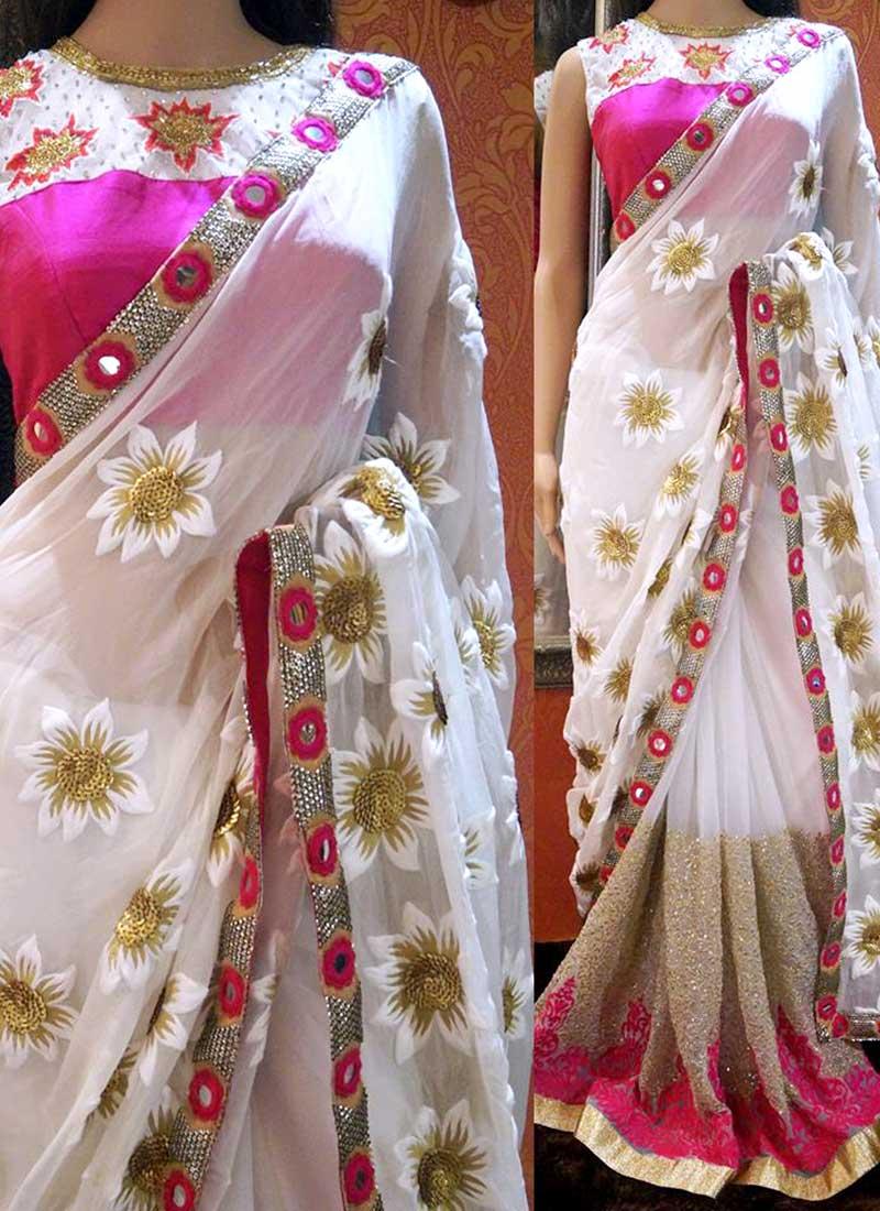 e07a0f1915293d White Magenta Pink Booti Work Georgette Designer Half Sarees Online ...