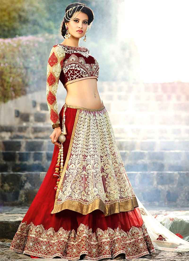 4445506d69 Maroon Embroidery Lace Border Work Stone Work Banglory Silk Wedding Lehenga  Choli