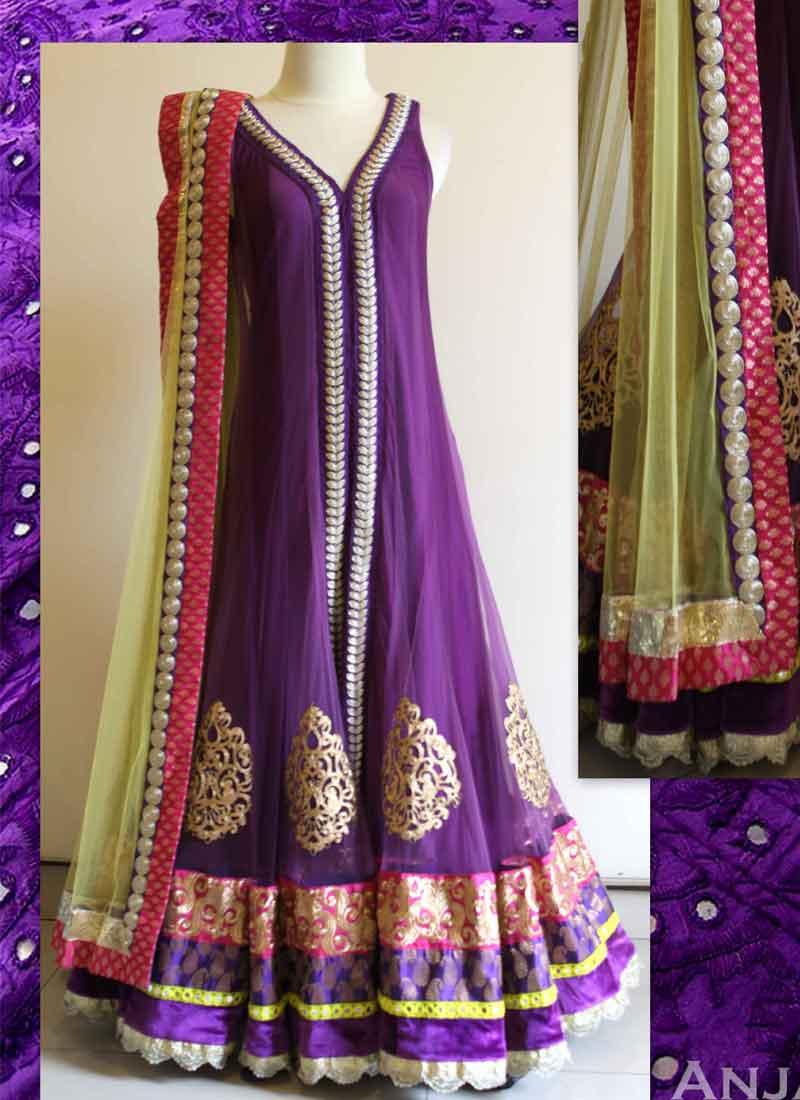 Purple Embroidery Patch Buta Work Lace Border Net Santoon Desinger ...