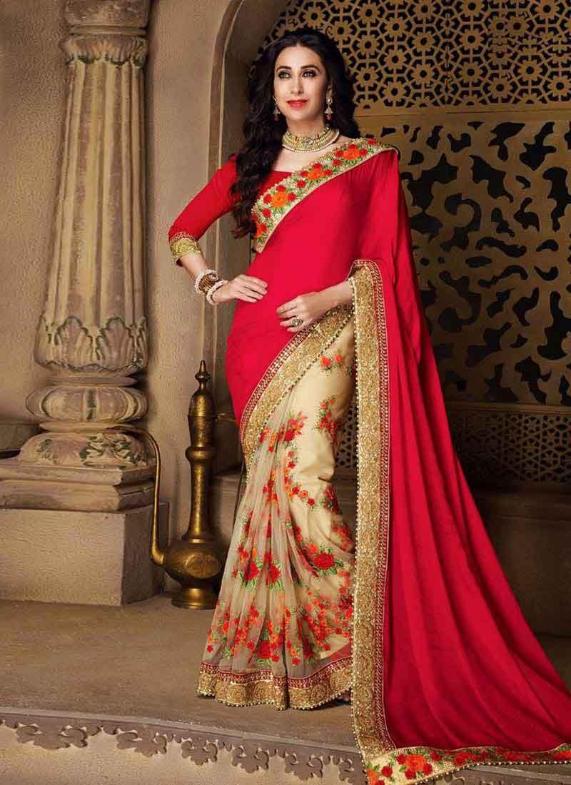 7dc0a1b2af Red Beige Embroidery Work Georgette Designer Wedding Fancy Bollywood Half  Sarees