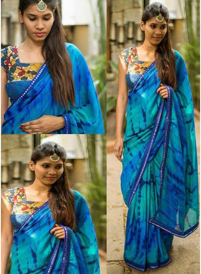 532ddd1120 Blue Lace Border Work Mirror Work Shibori Print Georgette Party Wear Casual  Sarees