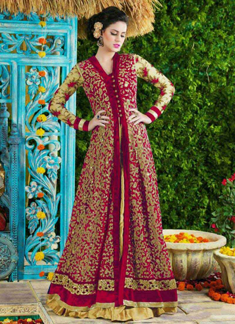 6e1da0f3774 Designer Maroon Embroidery Heavy Work Lace Border Long Anarkali Salwar Suit