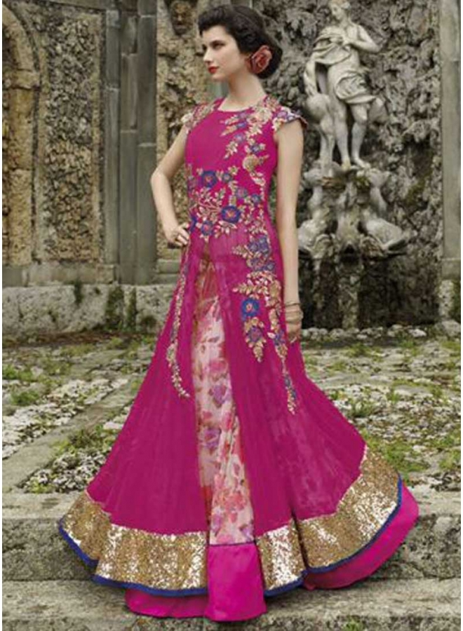 Designer Pink Net Georgette Embroidery Zari Work Party Wear Anarkali Salwar Kameez