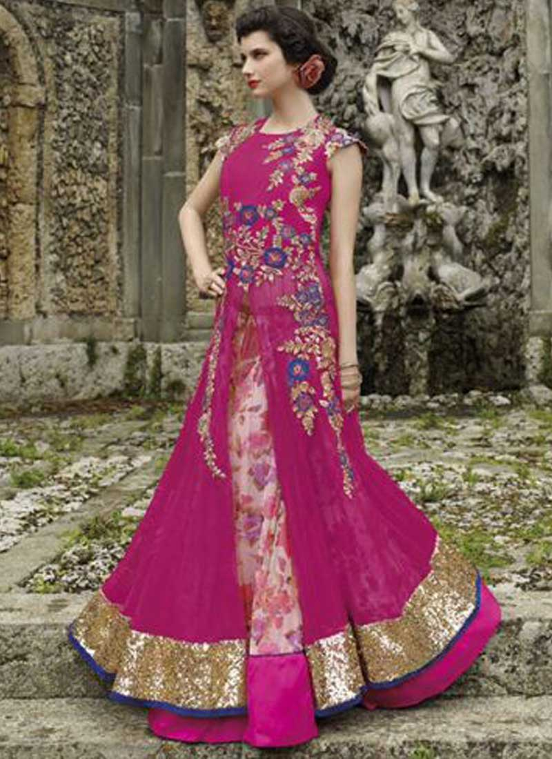 7b4a5c835e Designer Pink Net Georgette Embroidery Zari Work Party Wear Anarkali Salwar  Kameez