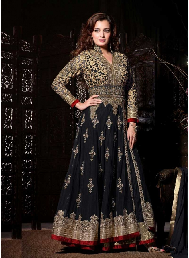 Diya Mirza Black Embroidary Sequins Work Lace Border Georgette Anarkali Suit