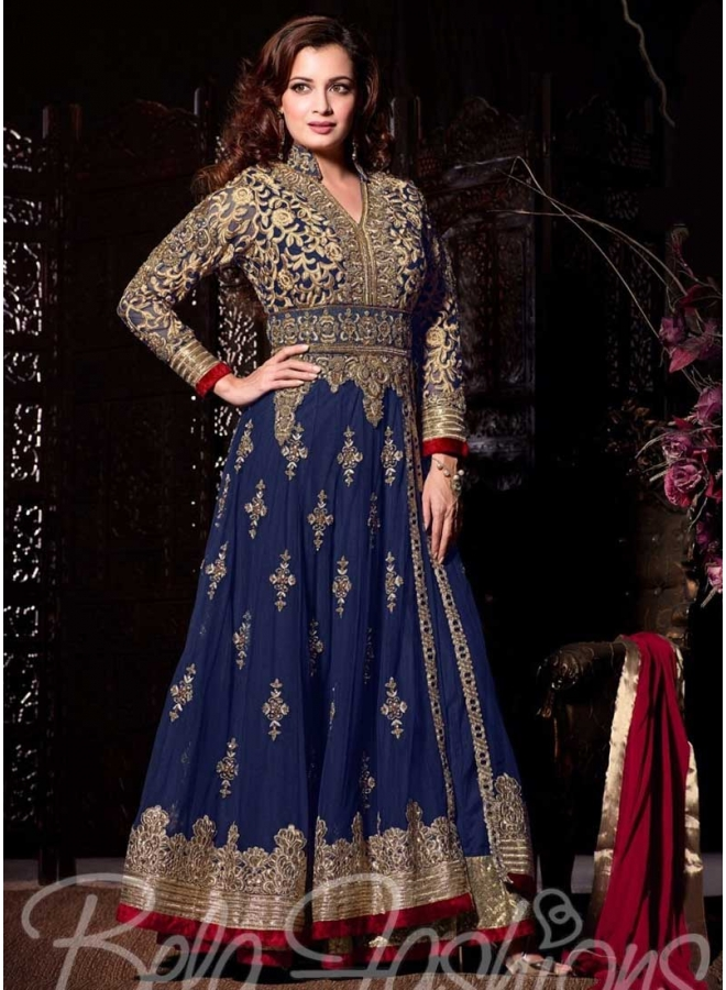 Diya Mirza Blue Embroidery Patch Border Party Wear Long Anarkali Salwar Kameez