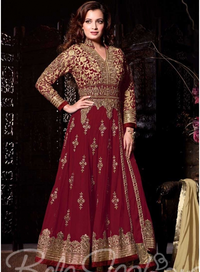 Diya Mirza Maroon Embroidery Sequins Work Lace Border Georgette Anarkali Suit