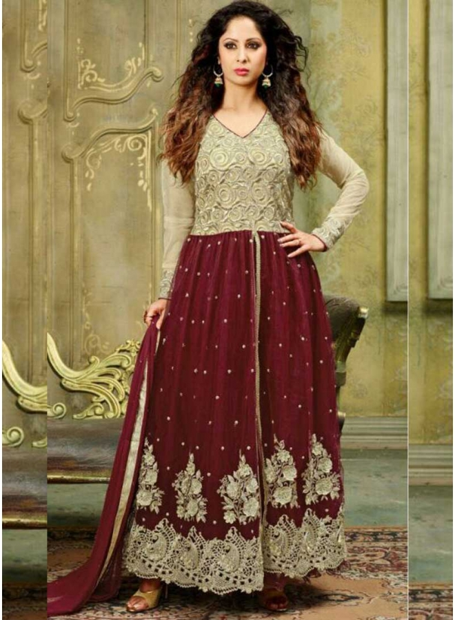 Maroon Cream Embroidery Stone Work Georgette Party Wear Anarkali Salwar Kameez